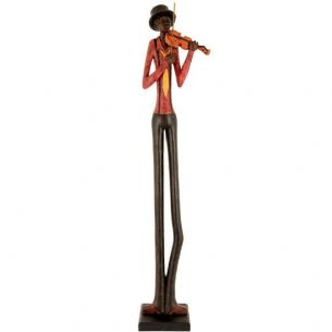 Resin Standing Jazz Band Violinist Brown Red Figurine Ornament 60cm